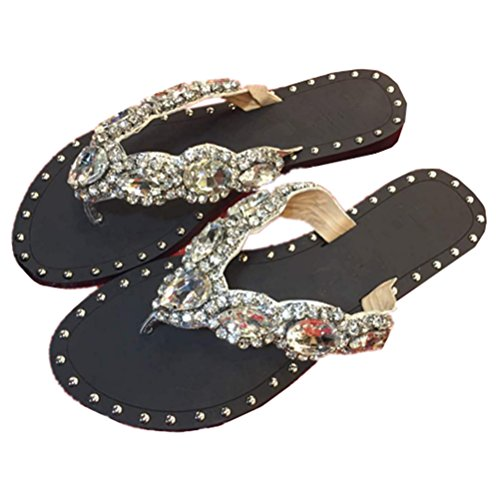 a757cce78 QINGYUAN Women s Shoes Rhinestones Flip Flops Fashion Thong Sandal chic