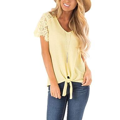 33d4423e3c815e Triskye Women's Shirts Tops Summer Short Sleeve Casual Fashion Blouse T-Shirt  Yellow