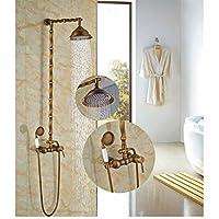 "Gowe Luxury Antique Brass Bathtub Shower Sets Wall Mounted 8"" Shower Head +Handheld"