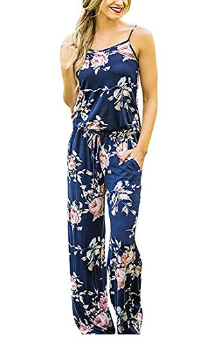 Adibosy Women Summer Floral Print Halter Sleeveless Jumpsuit Bohemian Wide Long Pants Rompers with Pockets