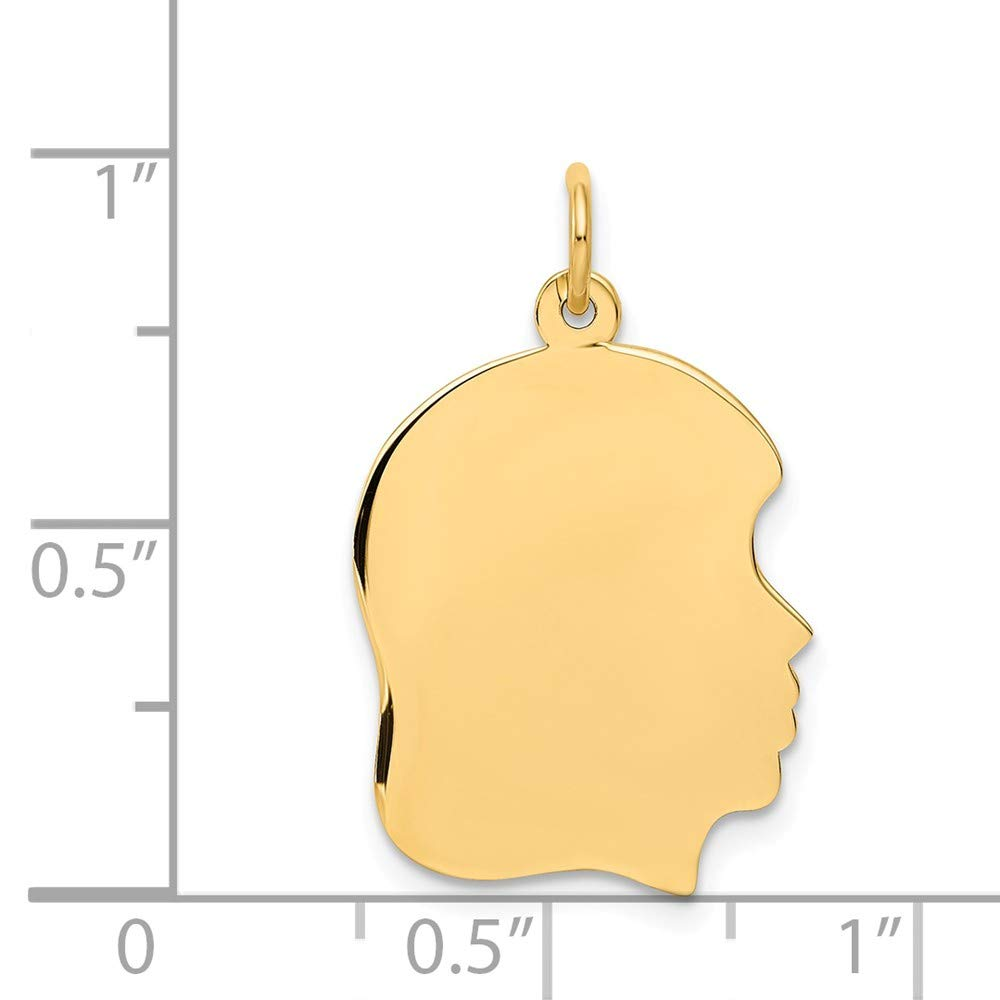 27mm x 4mm Solid 14k Yellow Gold Plain Medium .027 Gauge Facing Right Engravable Girl Head Charm Pendant