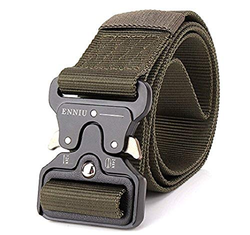 "Yeapv Nylon Tactical Web Belt, W/1.5""-2"" Military Army Style Combat Riggers Webbing Belt Adjustable Heavy Duty with Quick-Release Metal Buckle for Men Women(Green W/1.7 inches) ()"