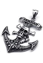 KONOV Vintage Stainless Steel Skull Anchor Charm Pendant Mens Necklace, 24 inch Chain
