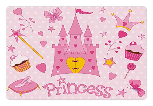 (Lunarable Nursery Pet Mat for Food and Water, Little Princess Tiara Slippers Castle Butterfly Heart Lollipop Wand Cupcake, Non-Slip Rubber Mat for Dogs and Cats, 18