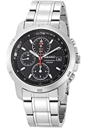 Seiko Men's SNDB03 Stainless Steel Chronograph Black Dial Watch