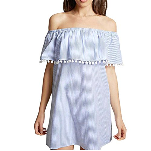 Damen SommerKleid, Bekleidung Longra Damen Schulterfrei Kleid kurze Ärmel Slash gestreiften Casual Kleid Blue