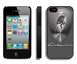 Hot Sale iPhone 4 4S Screen Cover Case With Lamborghini logo 2 Black iPhone 4 4S Case Unique And Beautiful Designed Phone Case
