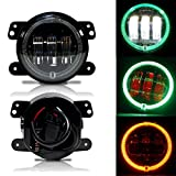 LX-LIGHT 4 Inch Cree Round LED Fog Lights With Red Demon Angel Eyes/Green DRL/Amber Turn Signal Halo for Jeep Wrangler Dodge Journey Front Bumper Lights (Pack of 2)