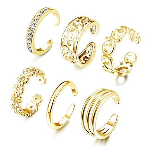 FUNRUN JEWELRY 6PCS Adjustable Toe Ring for Women Girls Open Tail Ring Band Hawaiian Foot Jewelry Gold Tone