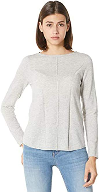Peplum Pointe Women's Petite Lightweight Crewneck Long Sleeve Cashmere Knit Pullover Sweater