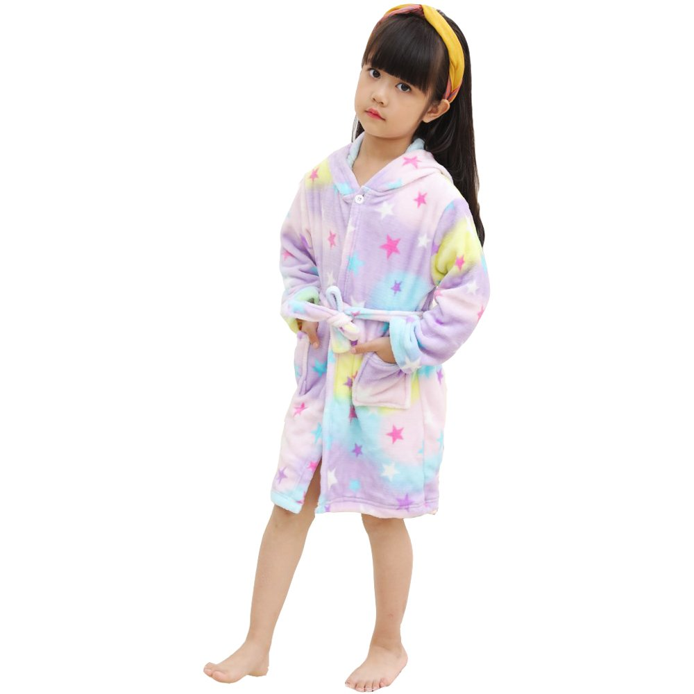 Amazon.com : Luckym Kids Unicorn Bathrobe Hooded Soft Flannel ...