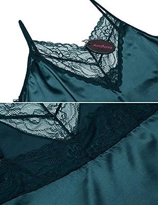 ADOME Women Sexy Nightgown V-Neck Sleepwear Lace Full Slip Dress