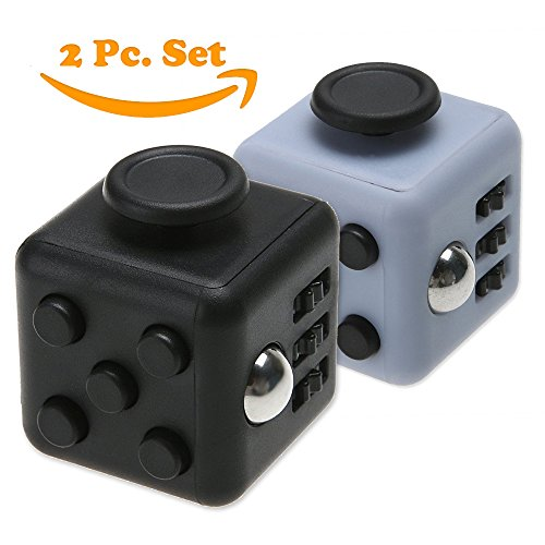 Whirlwind X Stress Relief Fidget Cube, Gray Black and Black, Set of 2 - 6