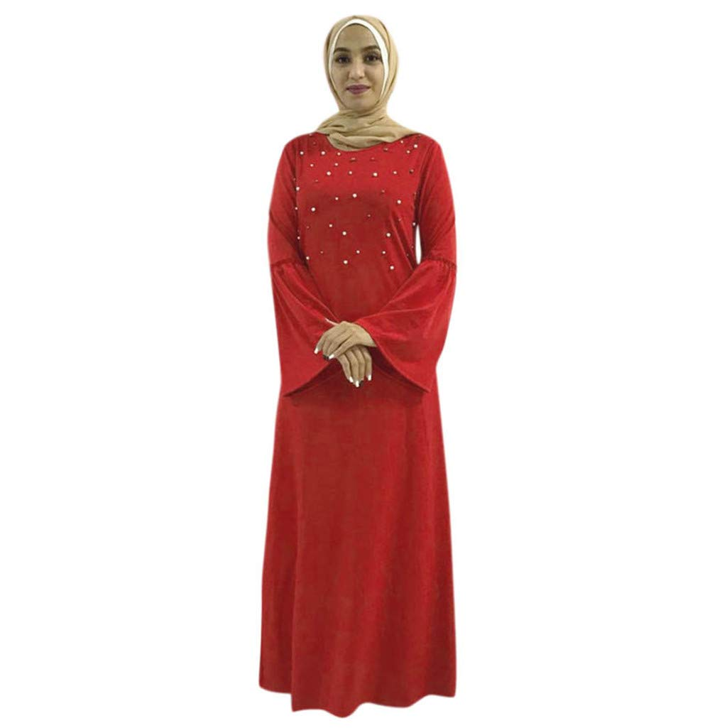 cf959949e039d Amazon.com: Women's Plus Size Long Sleeve Muslim Maxi Dress Abaya Kaftan  Ramadan Dress Bell Sleeve Knit Pearls Loose Jilbab S-2XL (M, Red): Beauty