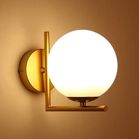 Ball Applique murale, Moderne Murale Abat-jour en verre globe blanc Lampe  salle de bain led Pour Chambre Couloir Lampe murale 1 E27 Lumière-d\'or ...