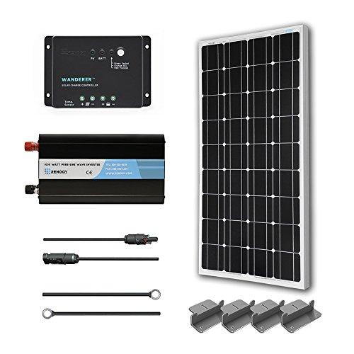 RENOGY 100 Watt 12 Volt Monocrystalline Solar Battery Ready Kit with Wanderer Charge Controller