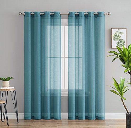 HLC.ME 2 Piece Semi Sheer Voile Window Curtain Grommet Panel