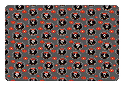 (Ambesonne Sugar Skull Pet Mat for Food and Water, Dia de Los Muertos Calavera Katrina Portraits in Oval Shaped Frames, Rectangle Non-Slip Rubber Mat for Dogs and Cats, Grey and)