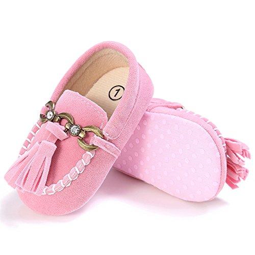 Estamico, Zapatos de los mocasines de la borla del ante del bebé, zapatillas de deporte del niño Rosado