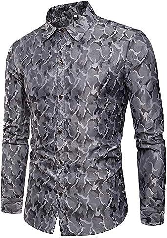 jsadfojas - Camiseta de Manga Larga con Lentejuelas Brillantes para Hombre: Amazon.es: Ropa y accesorios
