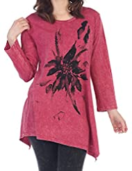 Jess & Jane Womens Floret Mineral Washed Asymmetrical Cotton Tunic