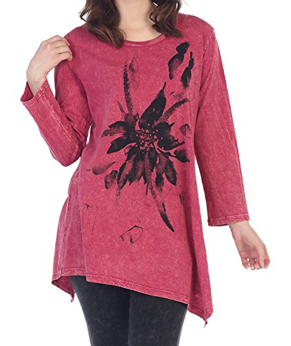 Jess & Jane Womens Floret Mineral Washed Asymmetrical Cotton Tunic (Small, Crimson)