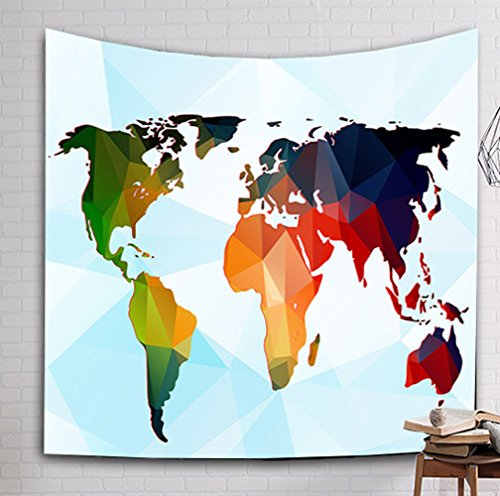 WSHINE World Map Tapestry Wall Hanging Tapestries Wall Art Infographic Beach Blanket Throw (M: 150130cm(59''51''), 2) by WSHINEI