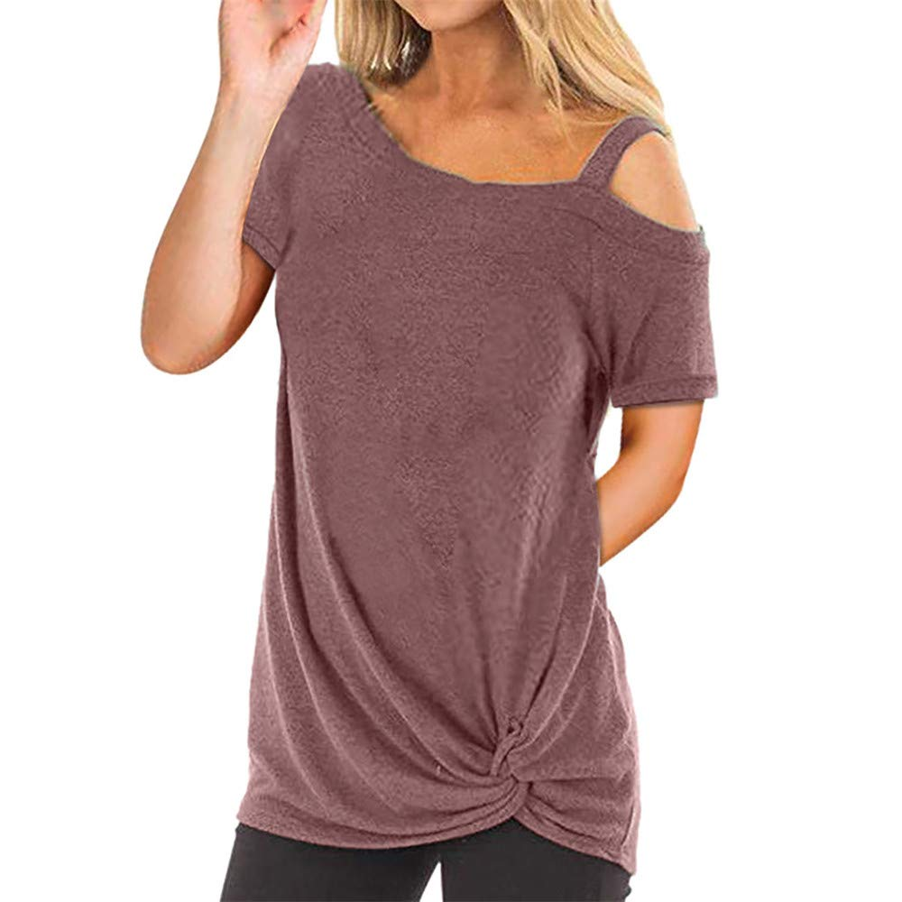 Vickyleb Tops for Women Fashion Short Sleeve T-Shirt Pure Color Shirt Cold Should Top Womens Shirts and Blouses Tank Brown