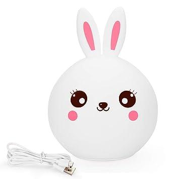 amazon com baby girl night light kawaii rabbit lamp soft silicone