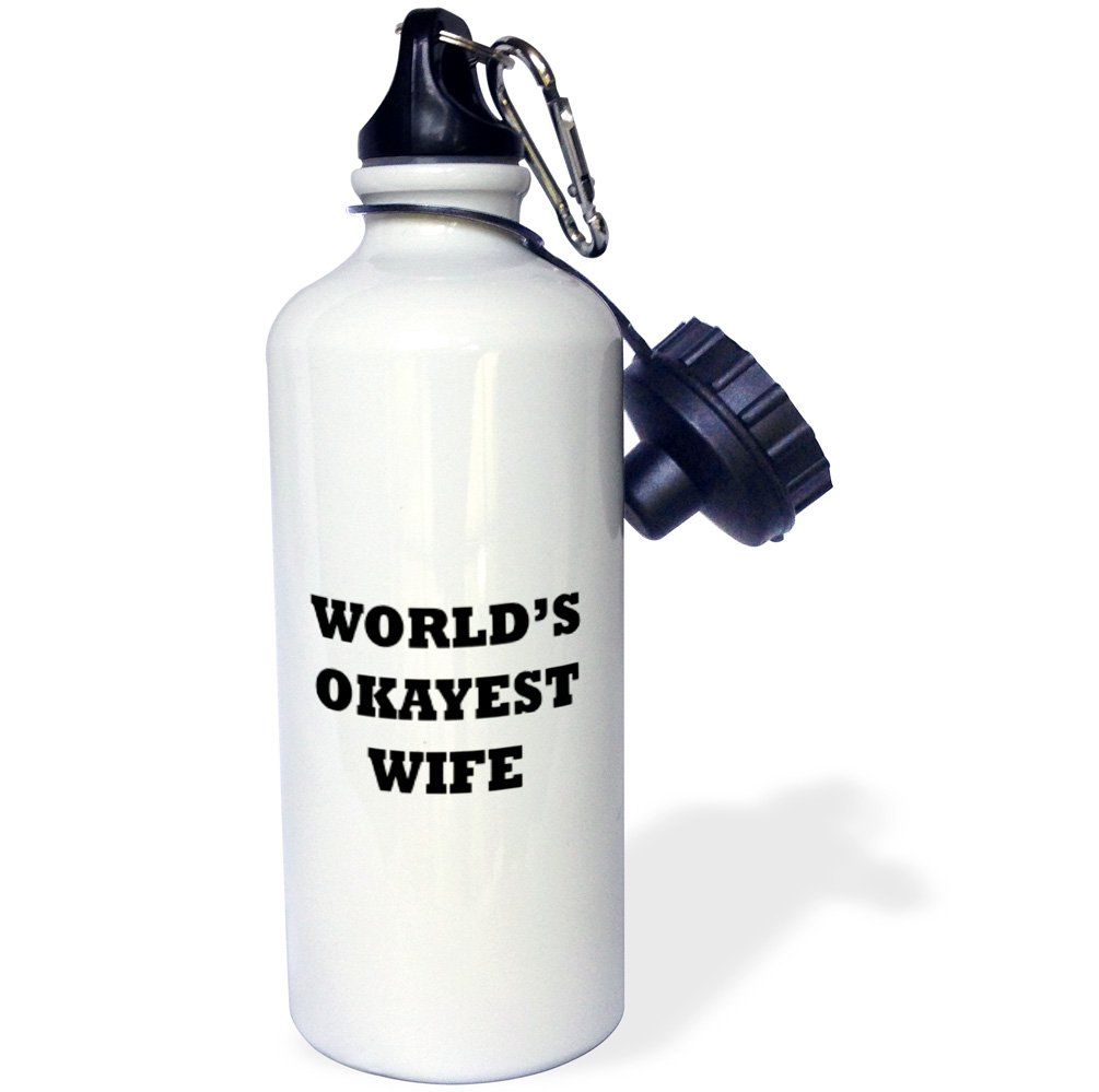 White 3dRose wb/_221069/_1WORLDS OKAYEST WIFE Sports Water Bottle 21 oz