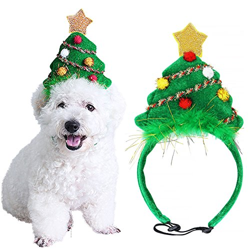 Bascolor Pet Costume Christmas Tree Headband Adjustable Elastic Bungee Christmas Fancy Costume for Cats Dogs