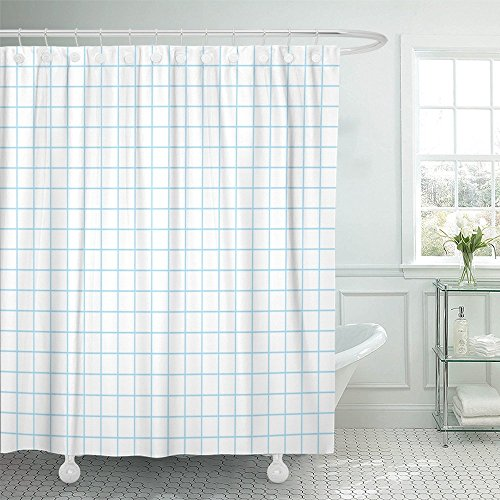 Emvency Shower Curtain Waterproof Decorative Bathroom 72 x 72 inches White Graph Grid Pattern Blueprint Engineering Abstract Architect Geometric Graphic Polyester Fabric Set with Hooks - Graph Grid Fabric