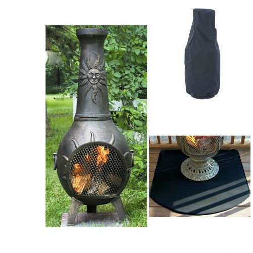 Blue Rooster Sun Stack Wood Burning Outdoor Metal Chiminea