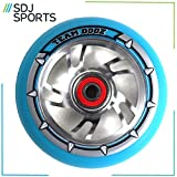 Hoverboard Gold Chrome Best Deals - TEAM DOGZ 100mm SCOOTER WHEEL BLUE SWIRL CORE BLUE TYRE ABEC BEARING (Pair)