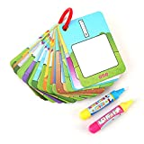 Water Painting Cards Children Drawing Board Kids Colouring Card Alphabet Number Word Doodle Board Painting Book Early Education Cognitive Cards with Magic Drawing Pens(Number Type)