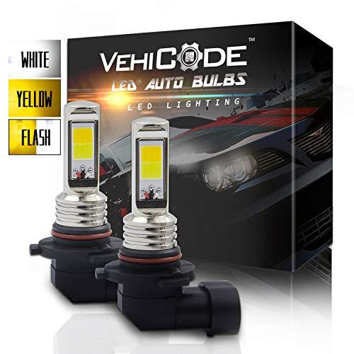 - VehiCode 3-Ways H10 9145 9140 LED Fog Light Bulb Conversion Kit - Dual Color (6000K White/ 3000K Yellow) Switchback and Flash Strobe for Emergency Warning Hazard Caution - Slim Fanless (2 Pack)