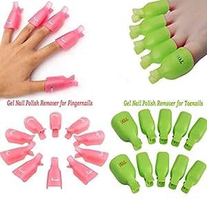 Big Group 20 piezas de uñas acrílicas para uñas de uñas con clip para quitar esmaltes
