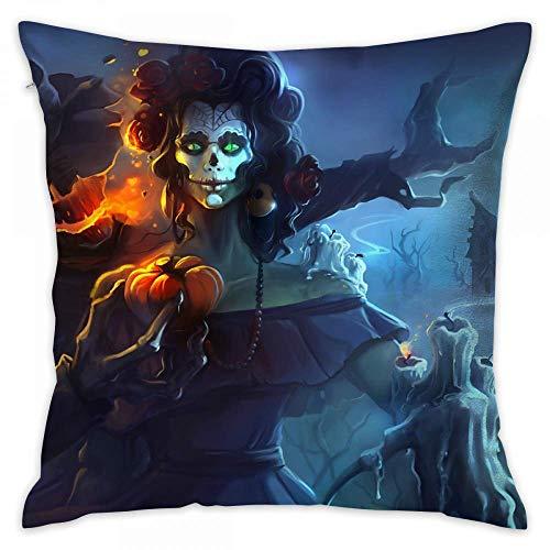 HGDGF Variety Candle Dark Halloween Happy Jack-o'-Lantern Night Sugar Skull Woman Print Decorative Throw Pillow Covers/Handmade Pillow, Pillows Inserts Decorative Throw Pillows 18 inch x 18 inch,Uni -
