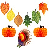 Thanksgiving Leaves Banner Turkey Tabletop Centerpiece Paper Pumpkin Honeycomb Decorations Home Hanging Decor for Autumn Holiday Party Favors Decorative Dining Table Outdoor Garden Festival