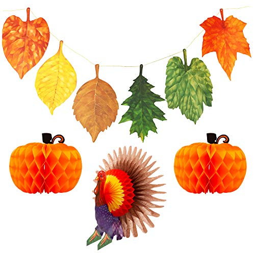 Thanksgiving Leaves Banner Turkey Tabletop Centerpiece Paper Pumpkin Honeycomb Decorations Home Hanging Decor for Autumn Holiday Party Favors Decorative Dining Table Outdoor Garden Festival]()