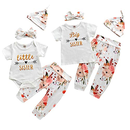 Newborn Girl Clothes Little Sister/Big Sister T-Shirt Gifts Outfits Matching Set 3/4pcs Romper Jumpsuit Bodysuit(Big Sister 3-4 Years)