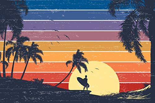 Retro Surfer Sunset Beach Graphic Poster 36x24 inch
