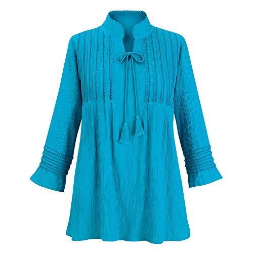 Collections Etc Women's Lace & Pintuck Cotton Gauze Tunic Top w/Tassel Tie Front, Teal, Large (Front Collection Top Pleated)
