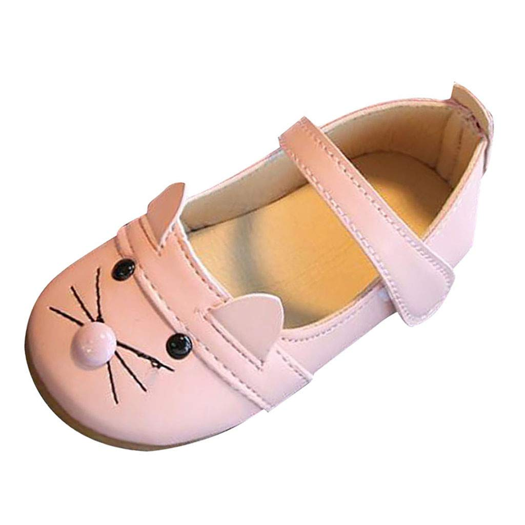 Kids Girls Princess Dance Dress Shoes Little Girl's Cat Casual Single Summer Sandals Flats Mary Jane Shoes (Age: 4-4.5Years, Pink)