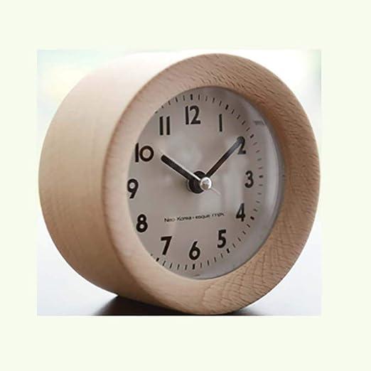 Reloj Despertador, Mini Mesa Redonda de Madera Silenciosa Snooze ...