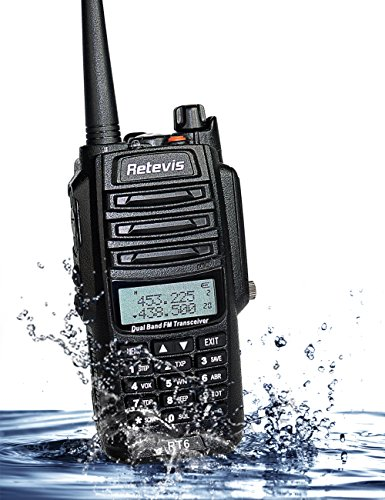 Retevis RT6 2 Way Radio IP67 Waterproof and Dust Proof Dual Band VHF/UHF 136-174Mhz/400-520Mhz 5/3/1W Ham Radio with Waterproof Earpiece (5 Pack) and Programming Cable (1 Pack) by Retevis (Image #1)