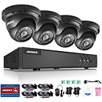 ANNKE New 1080P Lite Video Security System and (4) HD 1.3MP Surveillance Weatherproof Metal Housing Cameras with 85ft Superior Night Vision, No HDD