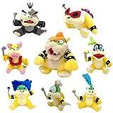 One Set of 8 Super Mario Bros Plush Toy King Bowser Kids Koopalings Koopa Larry Iggy Lemmy Roy Ludwig Wendy Morton Soft Figure
