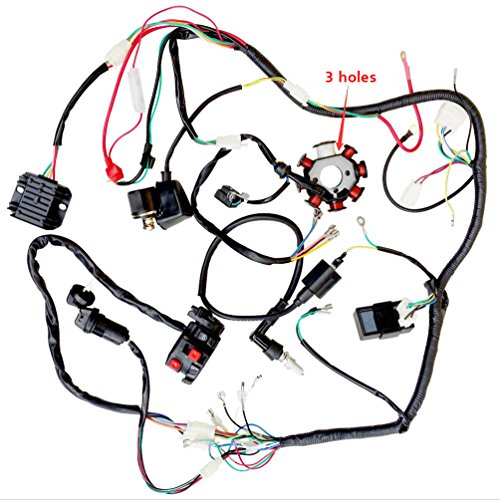 Complete Wiring Harness kit Wire loom Electrics Stator Coil CDI for 150cc-300cc ATV QUAD 4 Four wheelers Go Kart Dirt Pit bikes (3 fixing holes)