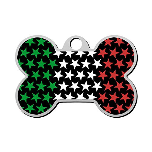 (RLDPY Zinc-Alloy Custom 3D Print Italian Stars Flag Pet ID Tags Personalized Front and Back Bone Shape Dog Tags & Cat Tags )